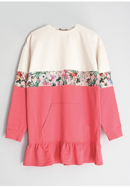 MOM DRESS WITH FLORAL COLOR BLOCK